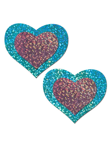 HEART NIPPLE PASTIES - SEAFOAM & PINK