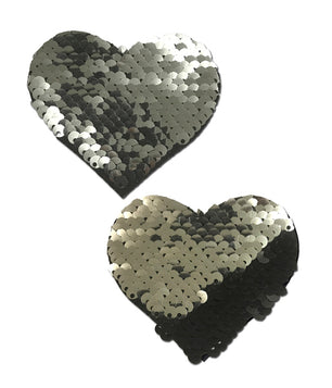 HEART NIPPLE PASTIES - SILVER SEQUIN