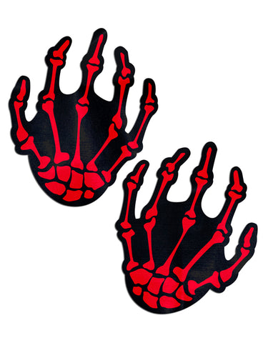 SKELETON HANDS NIPPLE PASTIES - BLACK & RED