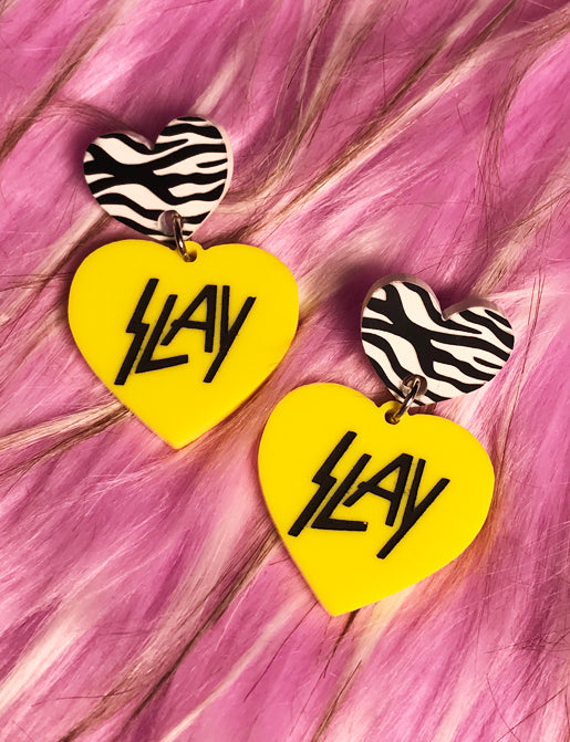 SLAY EARRINGS - YELLOW & BLACK ZEBRA