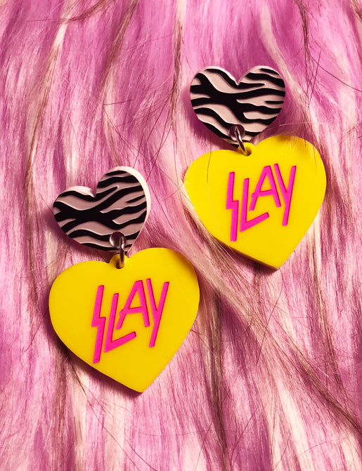 SLAY EARRINGS - YELLOW & PINK ZEBRA