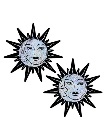 SUN & MOON NIPPLE PASTIES - SILVER HOLO