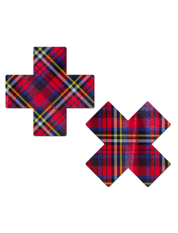 CROSS NIPPLE PASTIES - RED TARTAN