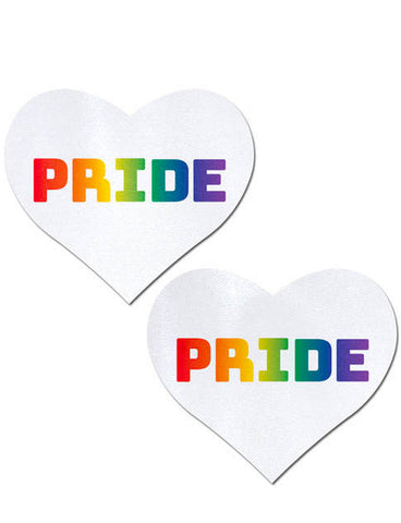 HEART NIPPLE PASTIES -WHITE/RAINBOW PRIDE