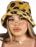 FLOWER POWER FUZZY BUCKET HAT - MUSTARD