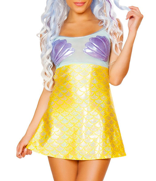MERMAID TWINKLE SHEER MESH DRESS - YELLOW