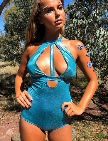 LIQUID WET LOOK BODYSUIT - AQUA