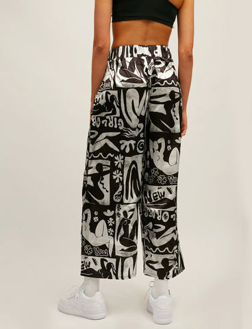ABSTRACT SATIN TROUSERS