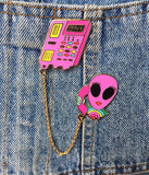 ALIEN ON PHONE CHAIN PIN