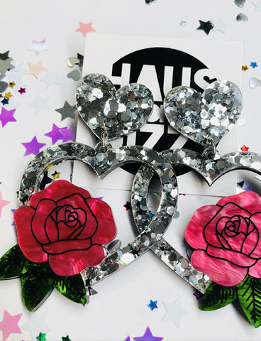 AMY SILVER ROSE HEART EARRINGS