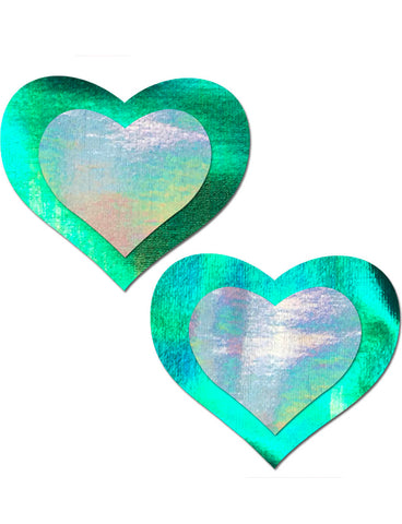 HEART NIPPLE PASTIES - SEAFOAM HOLOGRAM INNER