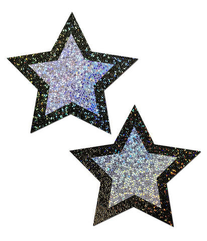 SILVER & BLACK GLITTER STAR NIPPLE PASTIES