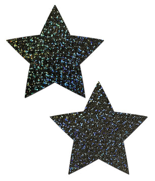 STAR NIPPLE PASTIES - BLACK GLITTER