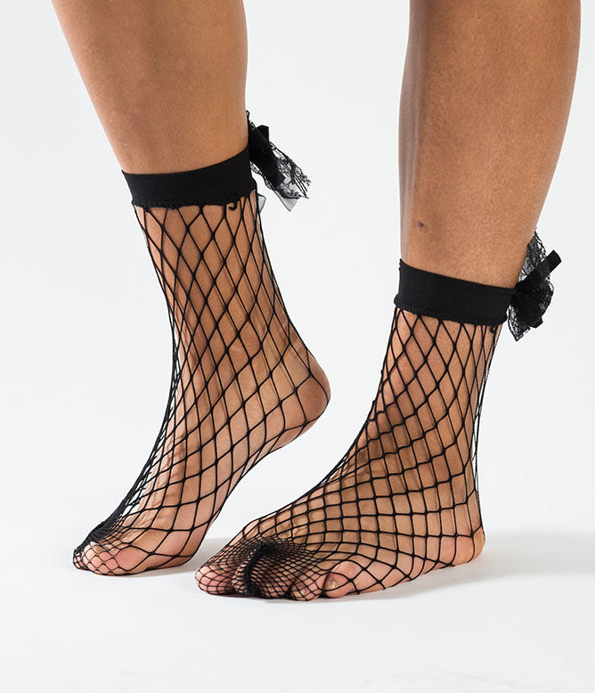 BOW TO ME FISHNET SOCKS - BLACK