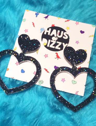 BARBIE HEART EARRINGS - SMALL BLACK GLITTER
