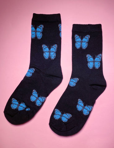 BLOSSOMING BUTTERFLY SOCKS - BLACK