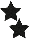 STAR NIPPLE PASTIES - BLACK SPARKLE VELVET