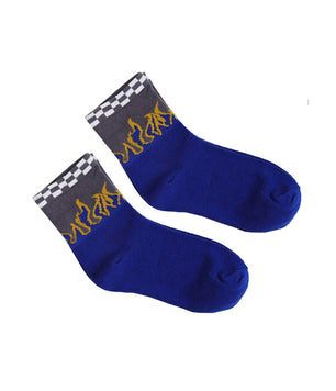 CHECK & FLAME KNITTED SOCKS - BLUE
