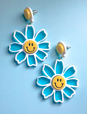 HAPPY FLOWER EARRINGS - BLUE