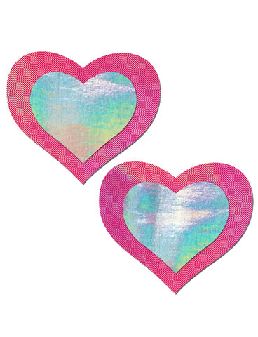 HEART NIPPLE PASTIES - PINK HOLOGRAM INNER