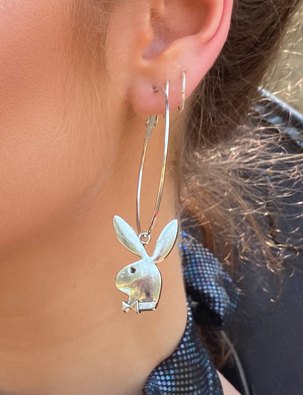 BUNNY EARRINGS - MEDIUM SILVER HOOP
