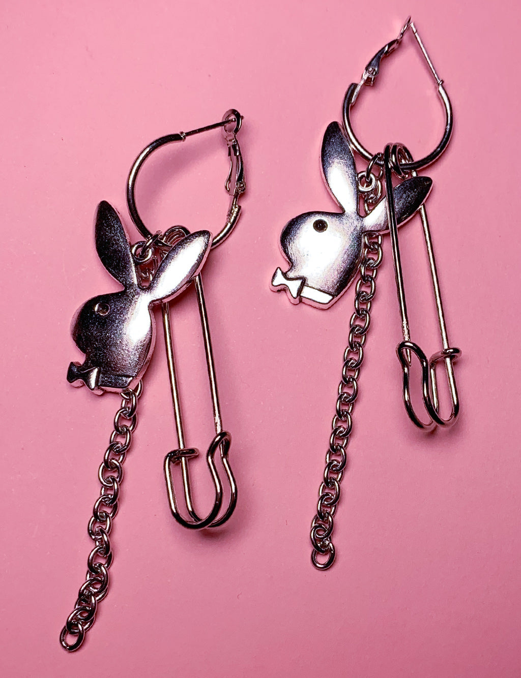 SAFETY PIN & BUNNY PENDANT HOOPS