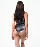 CHER LEOTARD - BLACK/WHITE HOUNDSTOOTH