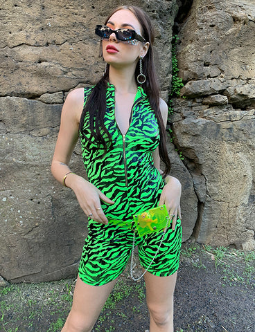 FINAL DAWN ZIP UP ROMPER - GREEN ZEBRA