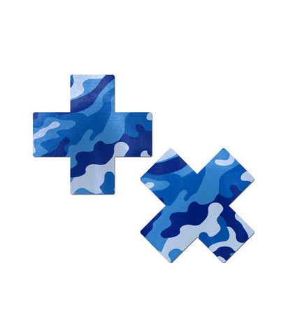 CROSS NIPPLE PASTIES - BLUE CAMO
