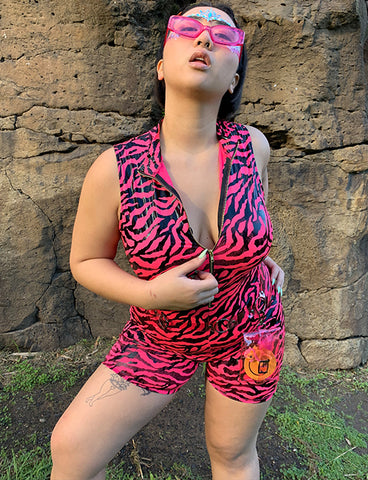 FINAL DAWN ZIP UP ROMPER - PINK ZEBRA
