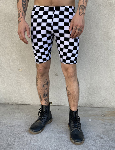 DOOF SHORTS - BLACK & WHITE CHECKERED