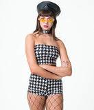 LIZA TUBE - BLACK/WHITE HOUNDSTOOTH