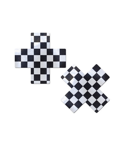 CROSS NIPPLE PASTIES - CHECKERED