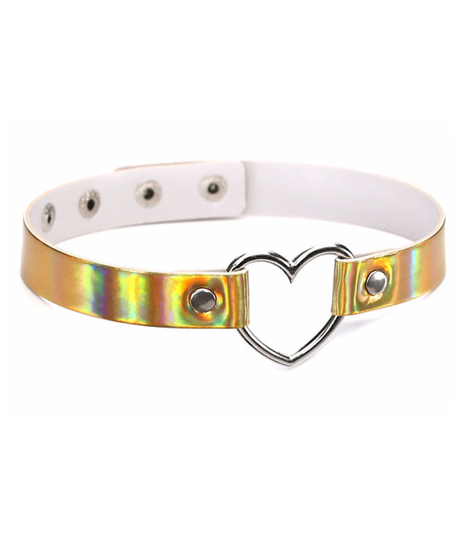 BURNING HEART CHOKER - GOLD HOLOGRAM
