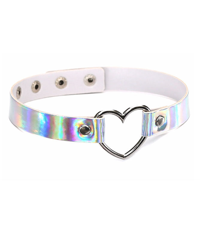 BURNING HEART CHOKER - SILVER HOLOGRAM