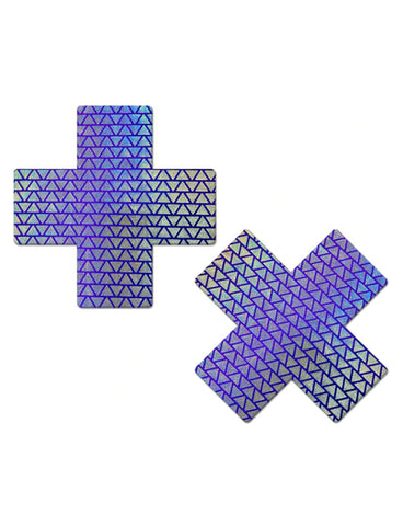 CROSS NIPPLE PASTIES - PURPLE/TRIANGLE