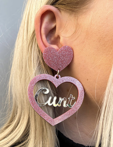 CUNT EARRINGS - PINK GLITTER