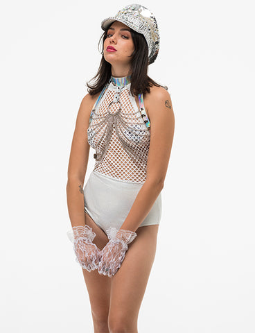 DISTRACTION MESH BODYSUIT - WHITE