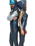HOLOGRAM JUMPSUIT - BLACK W SILVER ARMS