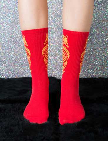 RED DRAGON KNITTED SOCKS