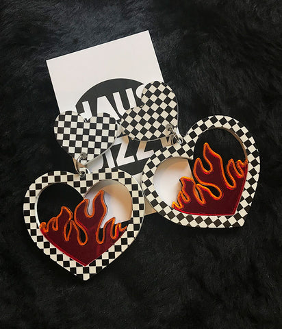 CHECKERED FLAME EARRINGS