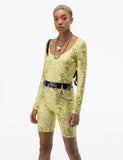 ELEMENTS BODYSUIT - GREEN SNAKESKIN