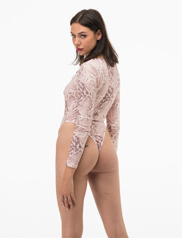 ELEMENTS BODYSUIT - NUDE SNAKESKIN
