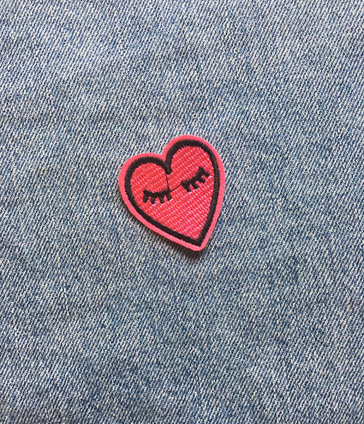 EYES CLOSED HEART IRON ON PATCH
