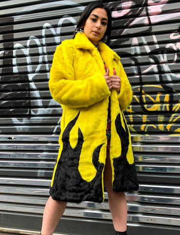 *EXCLUSIVE COLLAB* PURE FIRE FAUX FUR JACKET - YELLOW/BLACK *MADE TO ORDER*