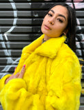 *EXCLUSIVE COLLAB* PURE FIRE FAUX FUR JACKET - YELLOW/BLACK