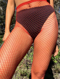SMALL MESH FISHNET STOCKING - RED