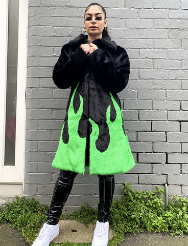 *EXCLUSIVE COLLAB* PURE FIRE FAUX FUR JACKET - GREEN/BLACK