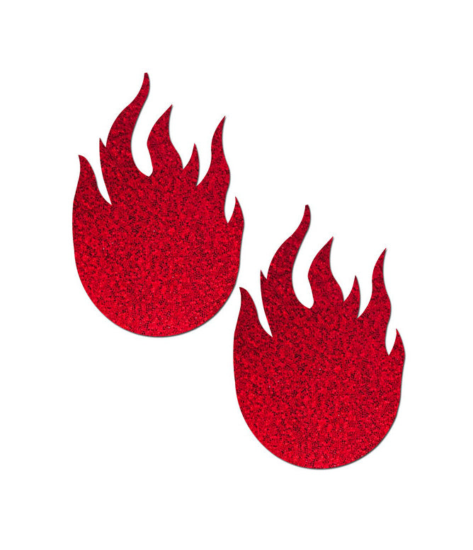 FLAME NIPPLE PASTIES - RED