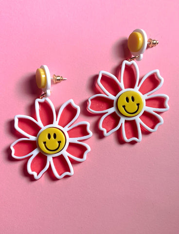 HAPPY FLOWER EARRINGS - PINK